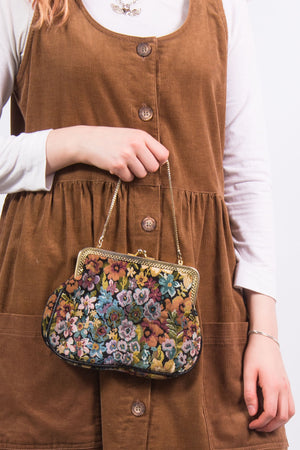 Vintage Mini Floral Tapestry Bag