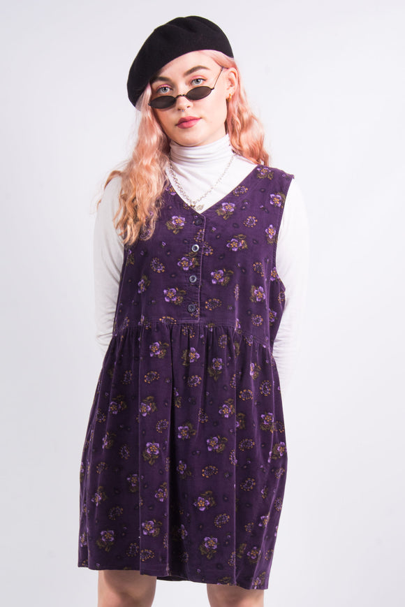Vintage Floral Cord Pinafore Dress