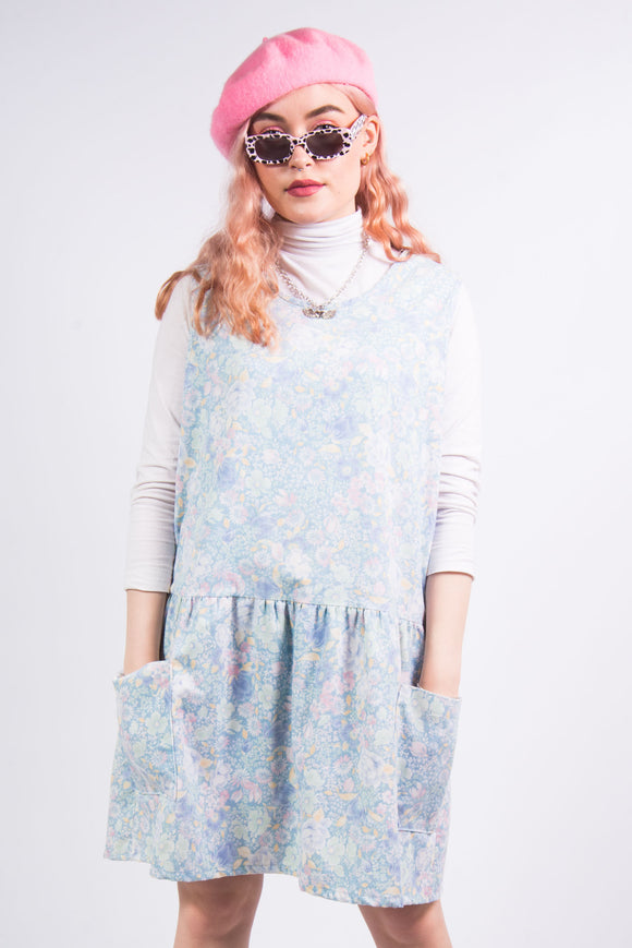 Vintage 90's Floral Pattern Cord Pinafore Dress