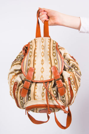 Vintage Aztec Patterned Rucksack Backpack
