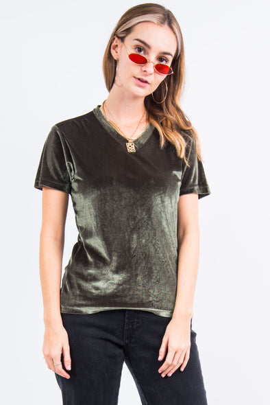 Vintage 90's Green Velvet V-Neck T-Shirt