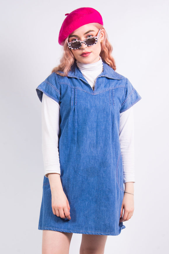 Vintage Cute Denim Smock Dress