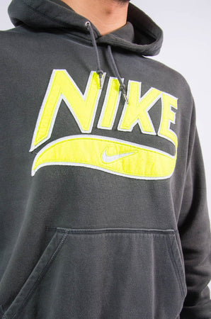 Vintage Nike grey hoodie with neon spell out logo