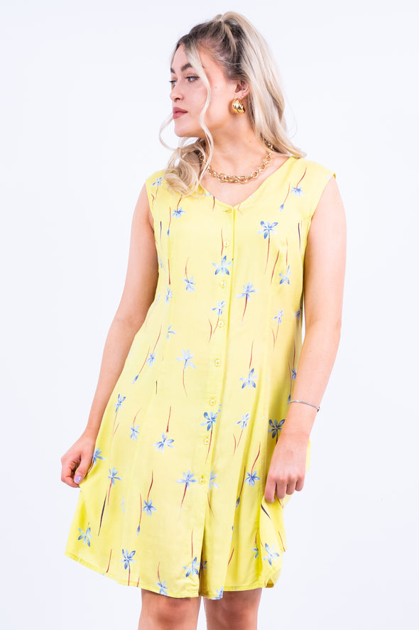 Vintage 90's Yellow Floral Mini Dress