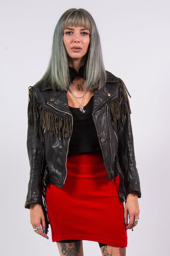 Vintage 80's Leather Biker Jacket