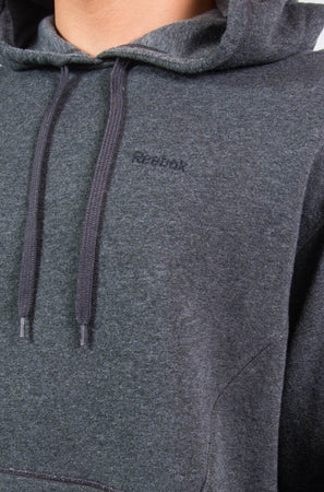 Dark grey Reebok hoodie with embroidered logo on chest