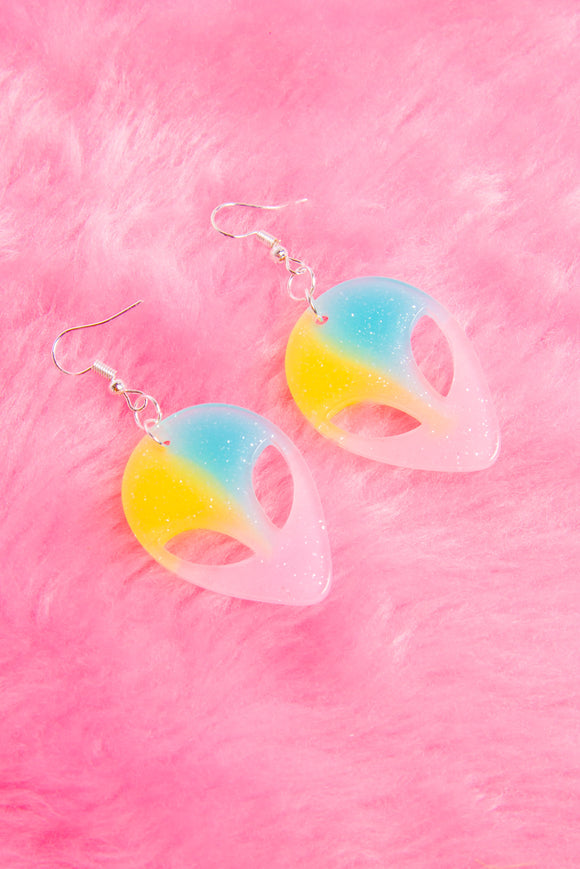 Pastel glittery alien earrings.