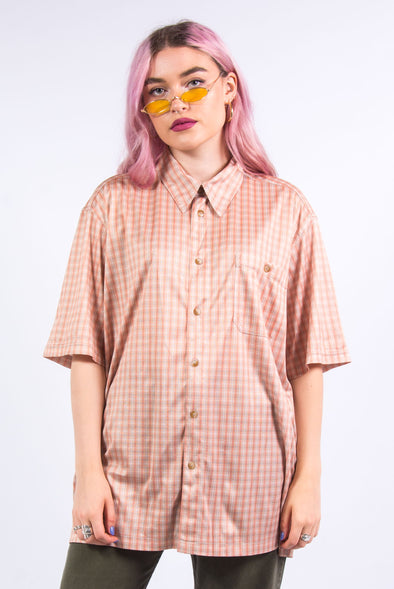 Vintage 90's Orange Check Oversize Shirt