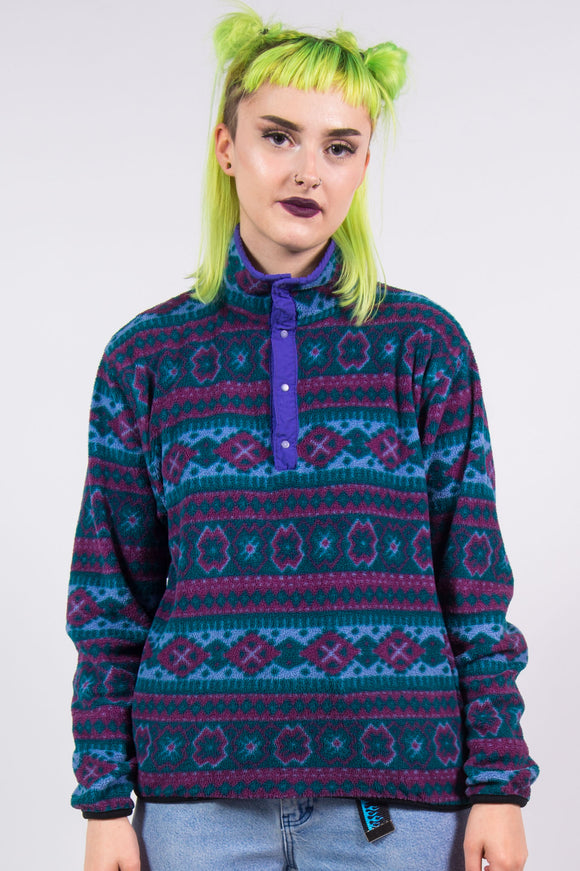 Vintage 90's Abstract Print Fleece Jumper