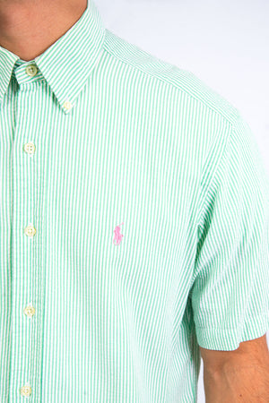Ralph Lauren Green Striped Seersucker Shirt