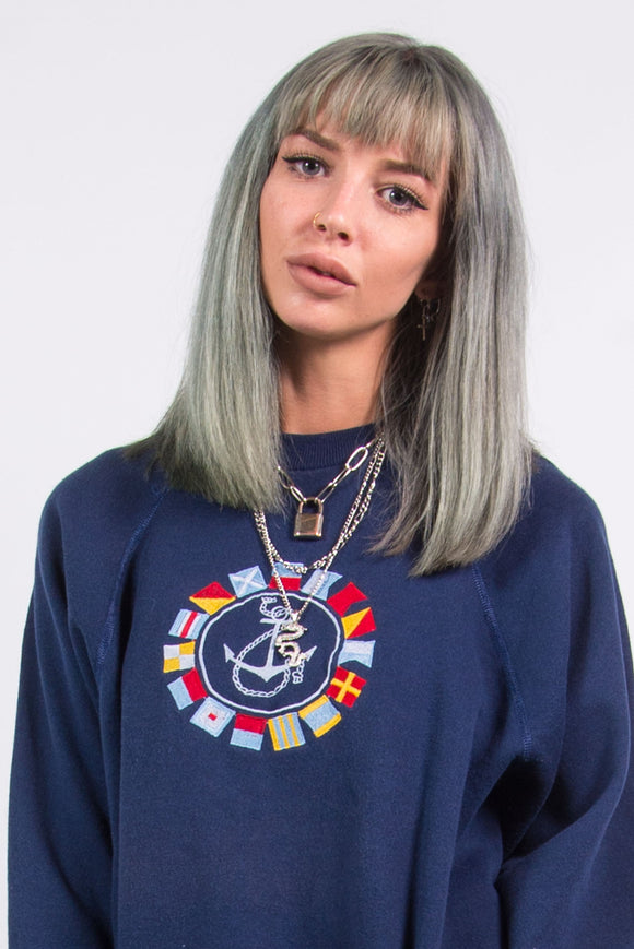 90's Vintage Cute Anchor Embroidered Sweatshirt