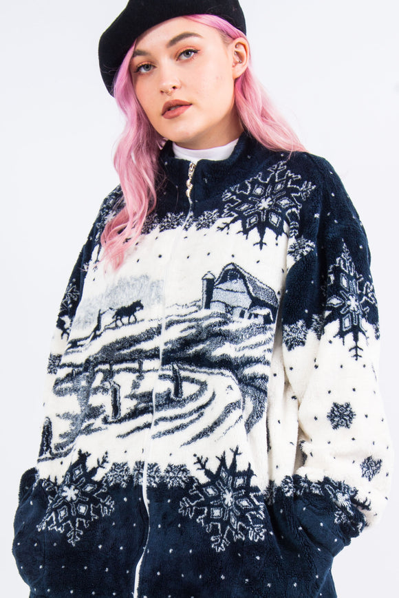 Vintage 90's Winter Scene Fleece Jacket