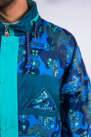 90's Waterproof Blue Patterned Cagoule Jacket