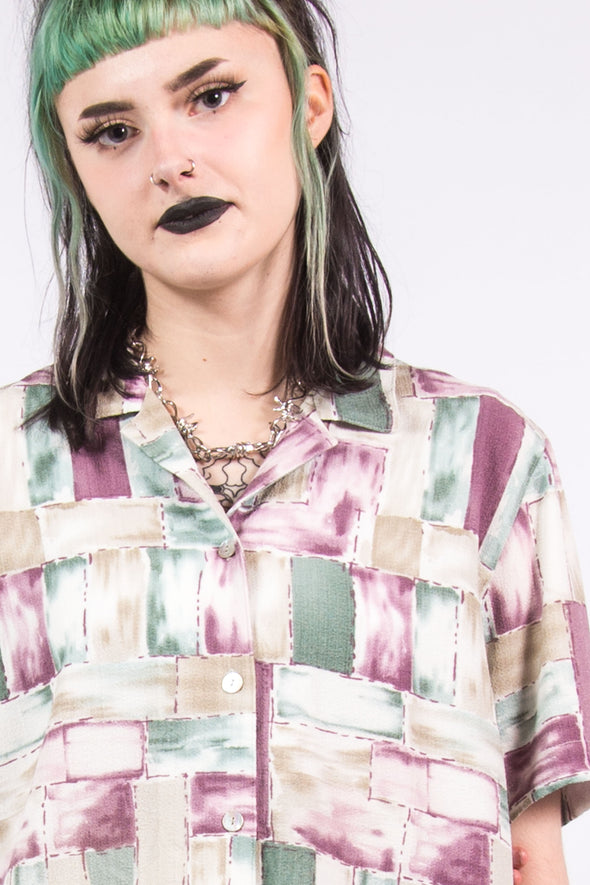 Vintage 90's Abstract Patterned Mom Shirt