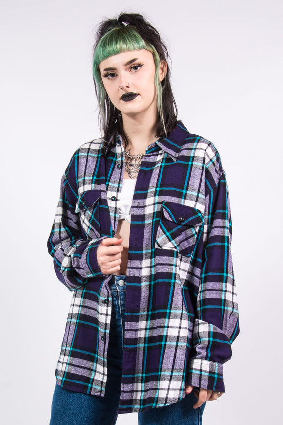 Vintage 90's Purple Check Flannel Shirt