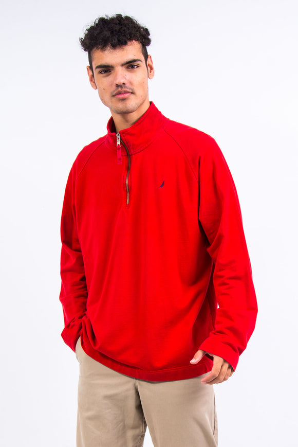 Red Nautica 1/4 Zip Sweatshirt
