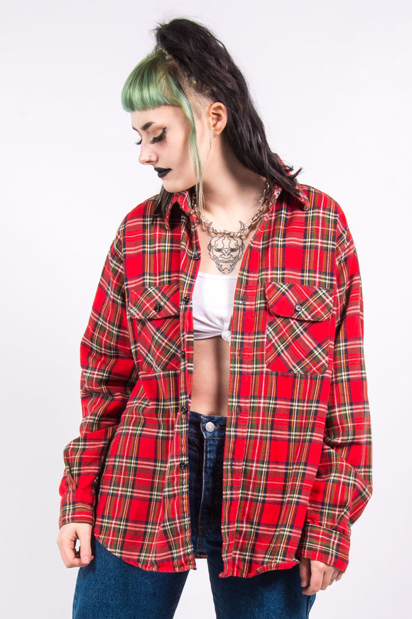 Vintage 90's Red Check Grunge Style Flannel Shirt