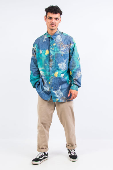 90's Blue Abstract Pattern Shirt