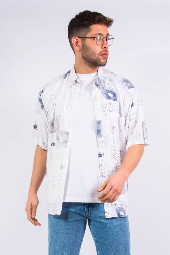 Vintage 90's Crazy Pattern Scribble Shirt