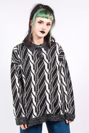 Vintage 90's Abstract Collared Knit Jumper