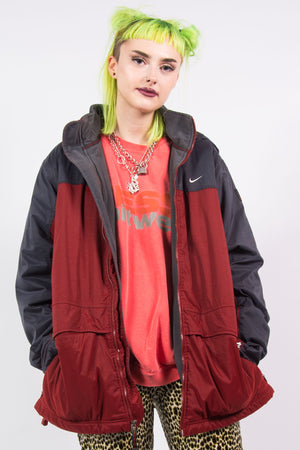 Vintage 90's Nike Red and Grey Coat