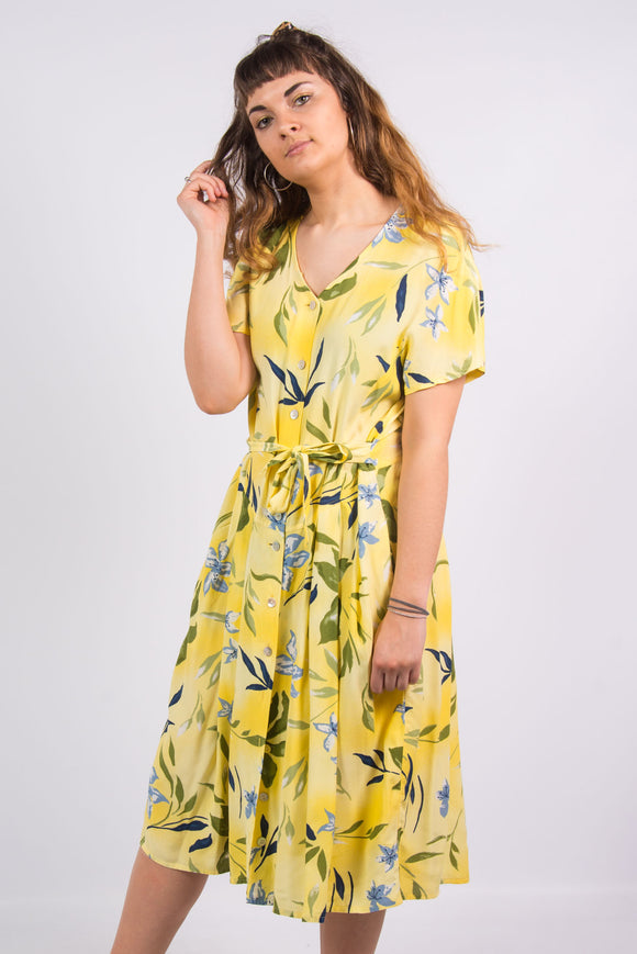 Vintage 90's Yellow Floral Midi Dress