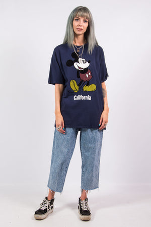 Vintage 90's Navy Disney T-Shirt with velvet Mickey Mouse Graphic