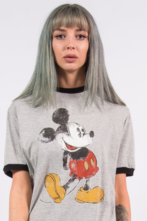Vintage 90's Grey Disney Mickey Mouse T-Shirt
