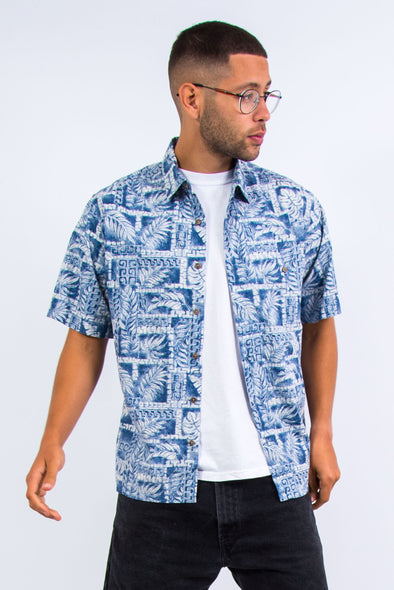 Vintage Leaf Print Vacation Shirt
