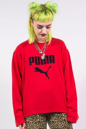 Vintage 90's Red Puma Sweatshirt with Velvet Spell Out