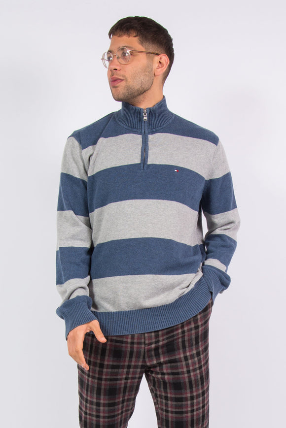 Tommy Hilfiger Striped 1/4 Zip Knit Jumper