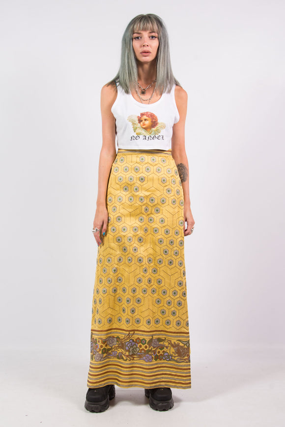 Vintage 90's Golden Geometric Skirt with Patterned Boarder