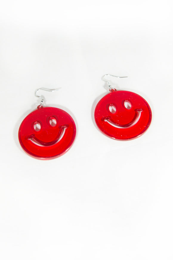 90's Red Smiley Face Earrings