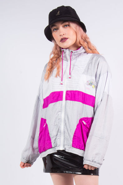 Vintage 90's Pink & White Shell Tracksuit Jacket