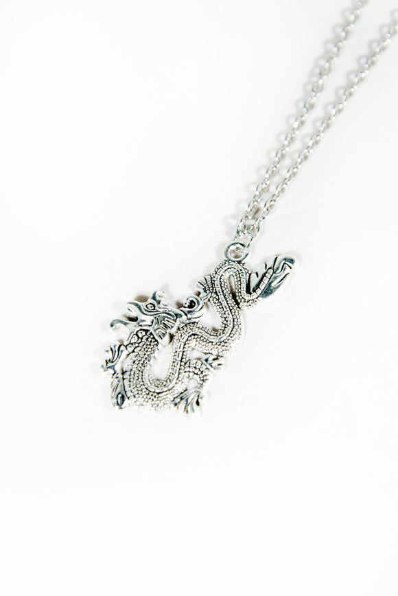 Silver Dragon Y2K Necklace
