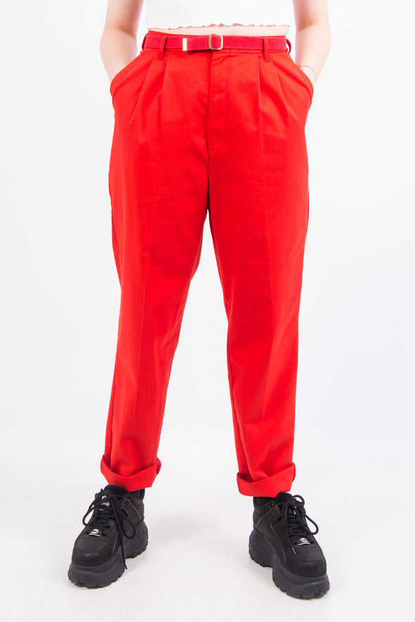 Vintage 90's Red Belted High Waist Trousers