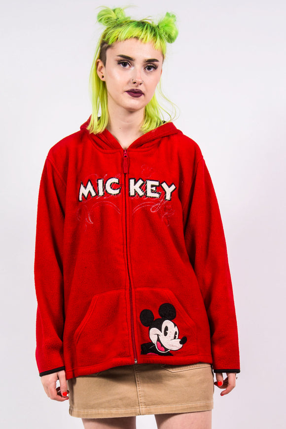 Vintage 90's Mickey Mouse Hooded Fleece Jacket
