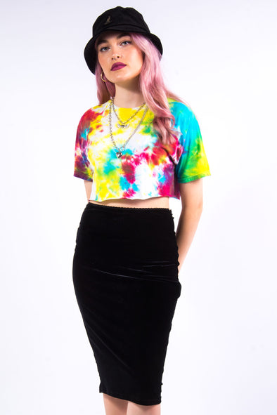 Vintage 90's Rainbow Cropped Tie Dye T-Shirt