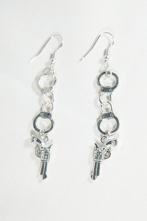 Y2K Western Gun & Handcuff Earrings