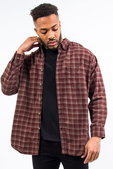 Vintage Brown Check Flannel Shirt