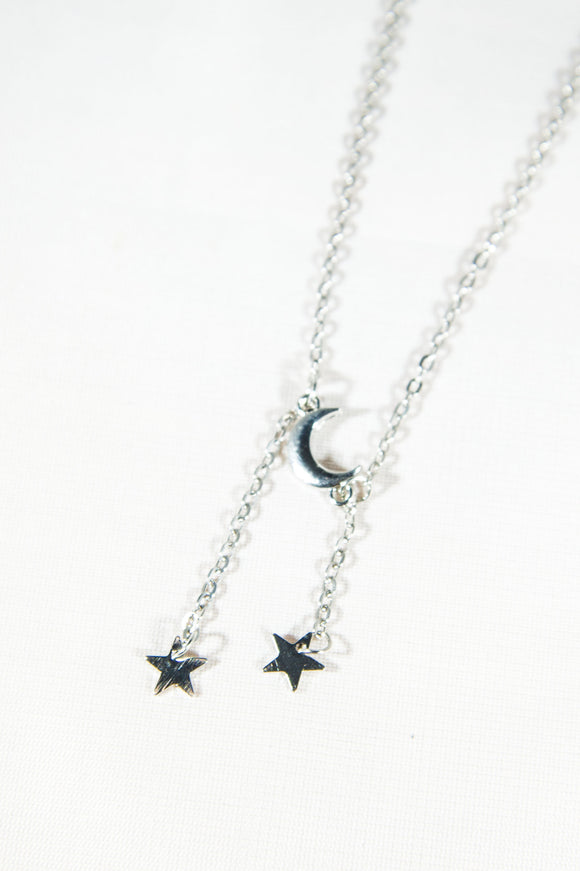 Silver Moon & Star Necklace