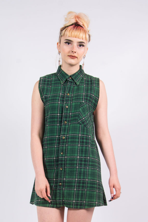 Vintage 90's Green Flannel Shirt Dress