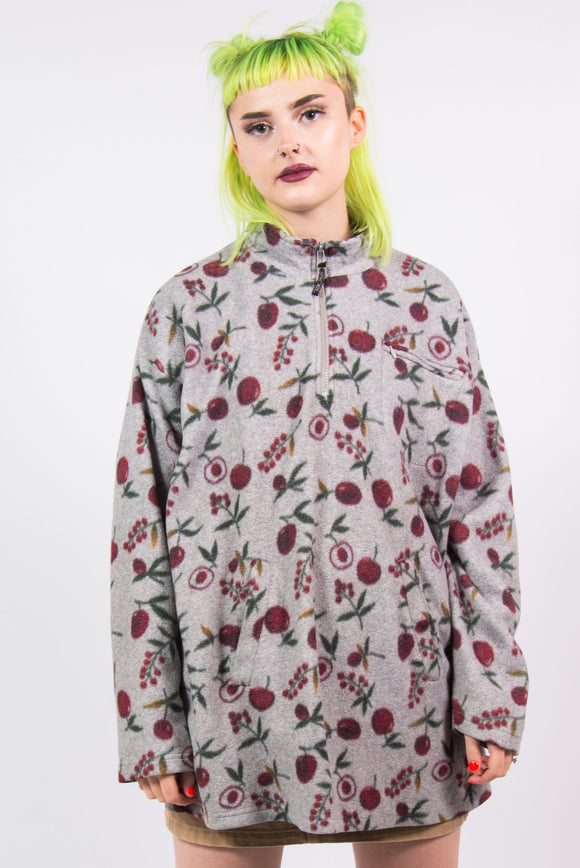 Vintage 90's 1/4 Zip Fruit Print Fleece Jacket
