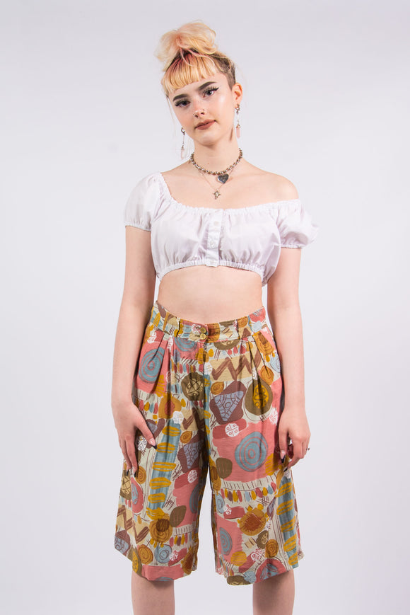 Vintage 90's Abstract Culottes Shorts