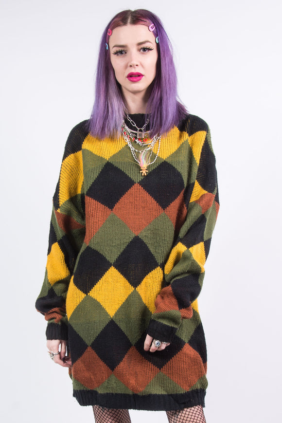 Vintage 90's Diamond Pattern Grunge Sweater Dress