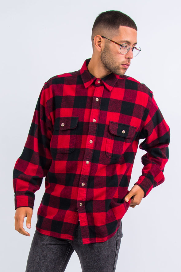 Vintage Red Check Thick Flannel Shirt