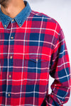 90's Red Check Denim Collar Shirt