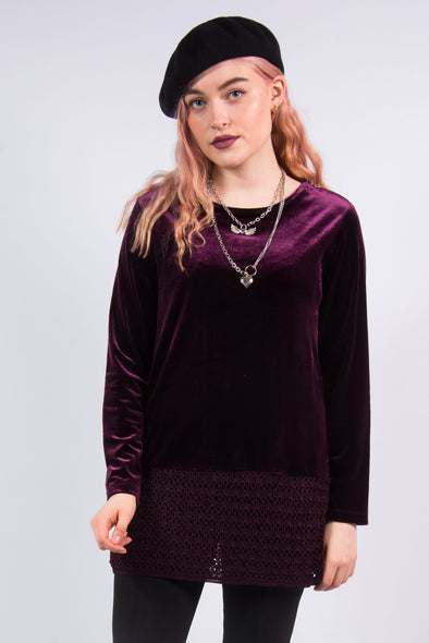 Vintage 90's Purple Velvet Grunge Top