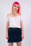 Vintage 90's Denim Frayed Hem Mini Skirt