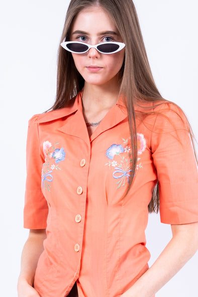 Vintage 70's Peach Embroidered Blouse